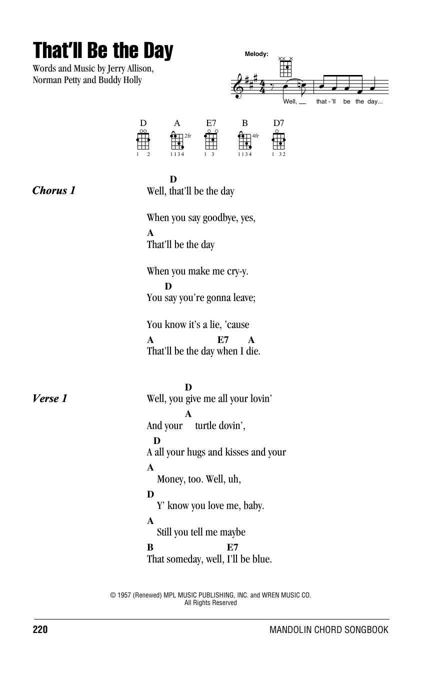 Tablature guitare That'll Be The Day de The Crickets - Autre