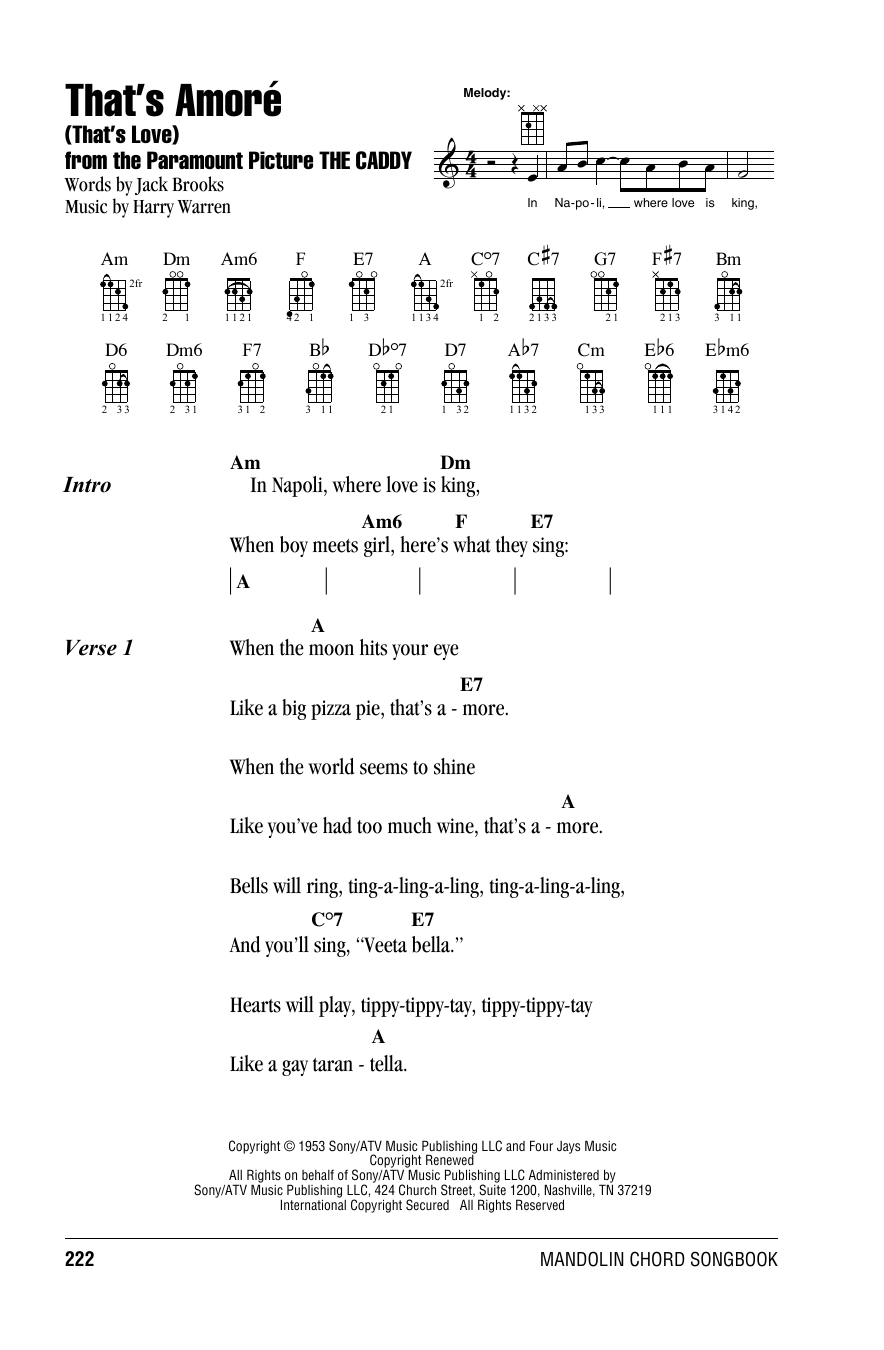 Tablature guitare That's Amoré (That's Love) de Harry Warren - Autre
