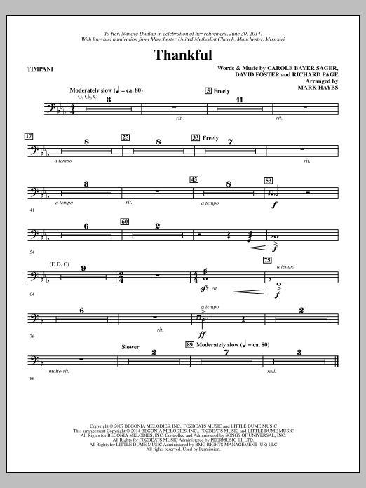 Thankful (arr. Mark Hayes) - Timpani (Choir Instrumental Pak)