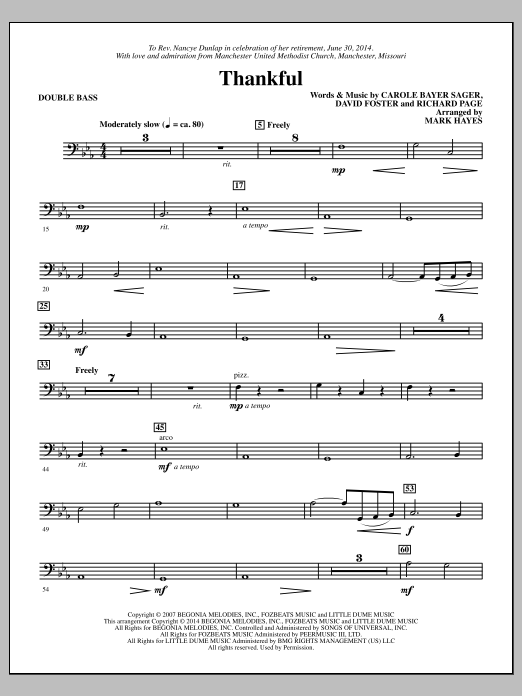 Thankful - Double Bass Sheet Music