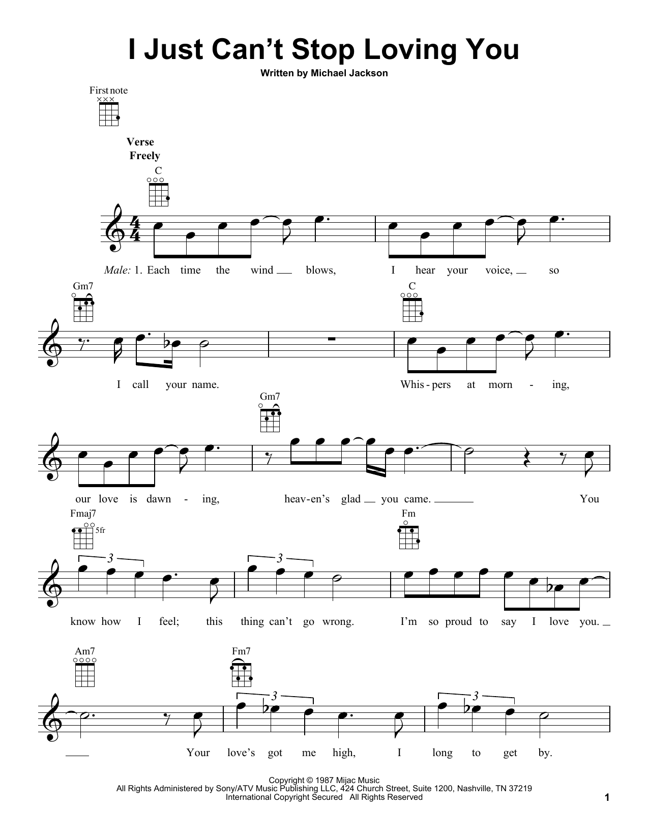 Tablature guitare I Just Can't Stop Loving You de Michael Jackson - Ukulele