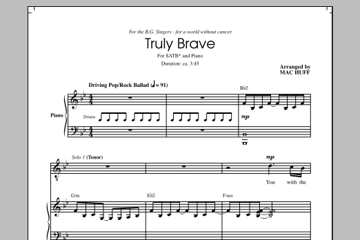 Truly Brave (arr. Mac Huff) Sheet Music