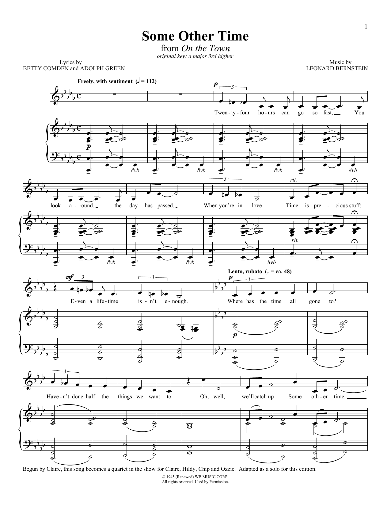 Some Other Time (from 'On The Town') Sheet Music
