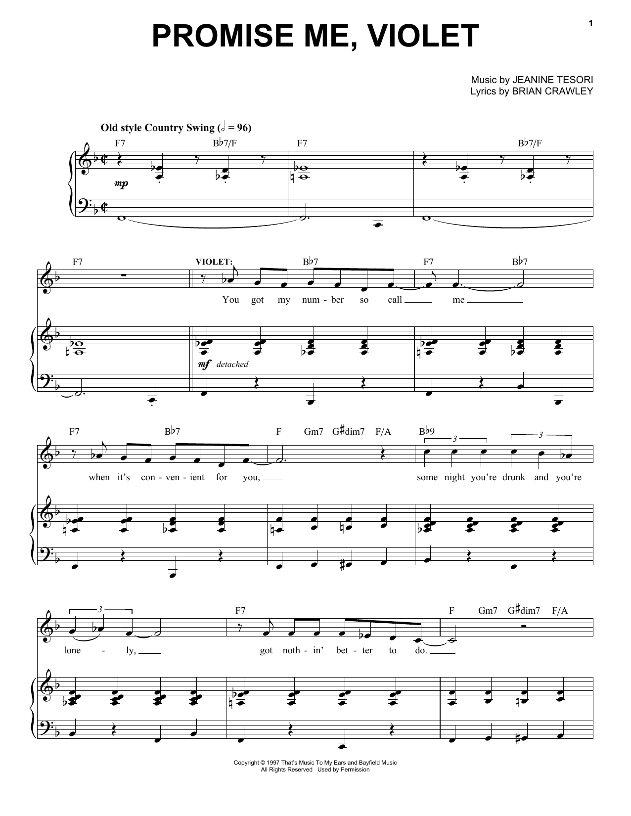 Promise Me, Violet Sheet Music