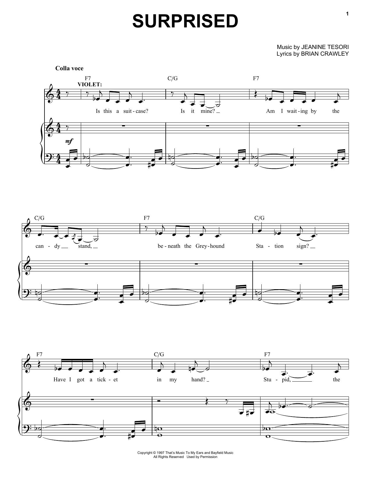 Partition piano Surprised de Jeanine Tesori - Piano Voix