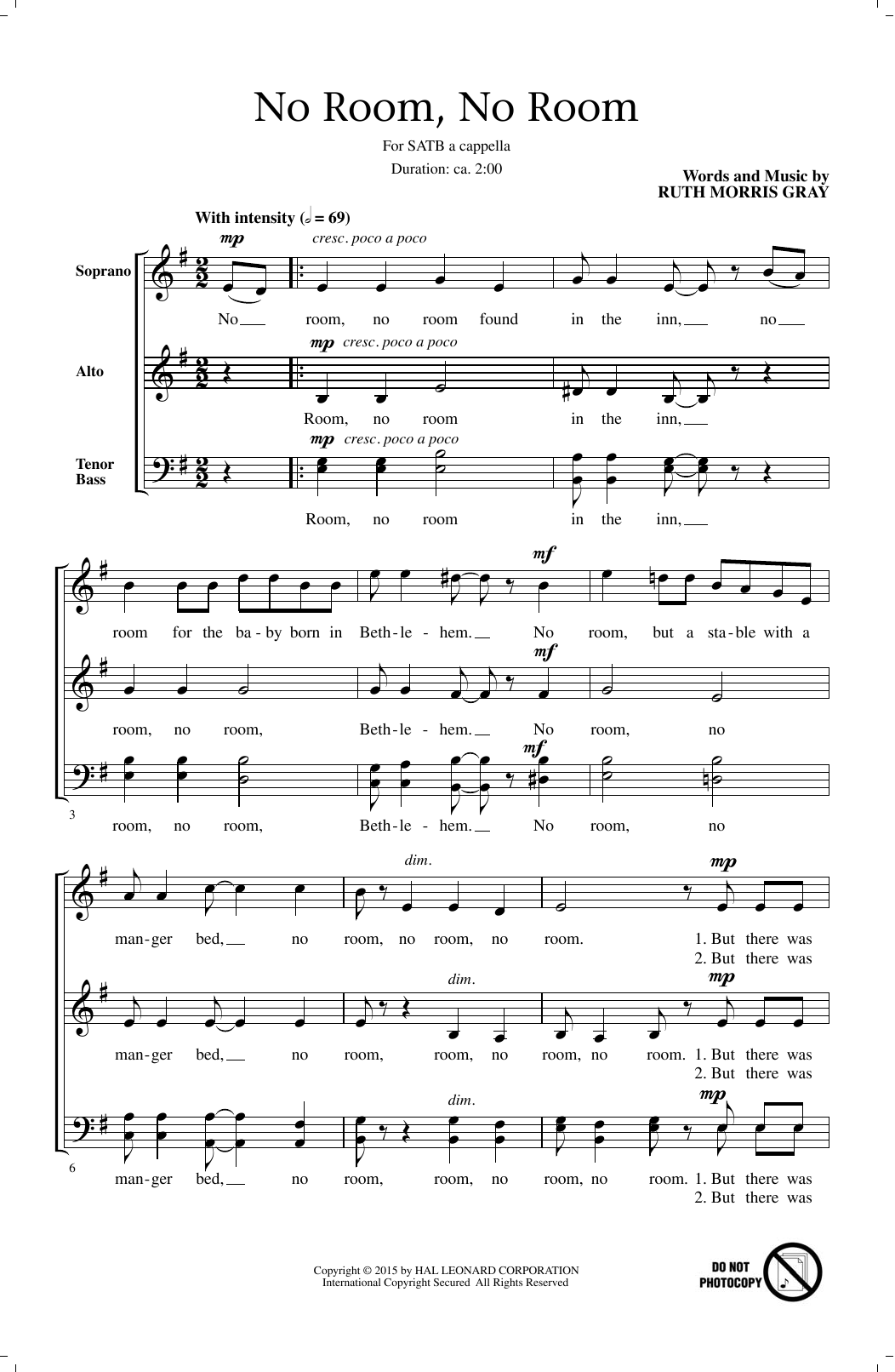 Partition chorale No Room, No Room de Ruth Morris Gray - SATB