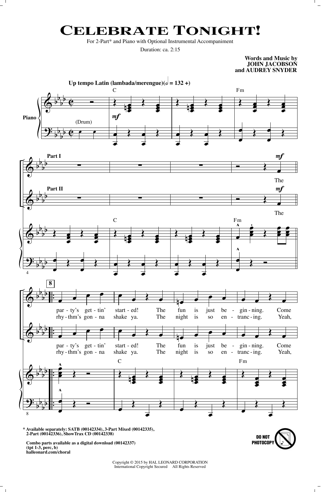 Celebrate Tonight! Sheet Music