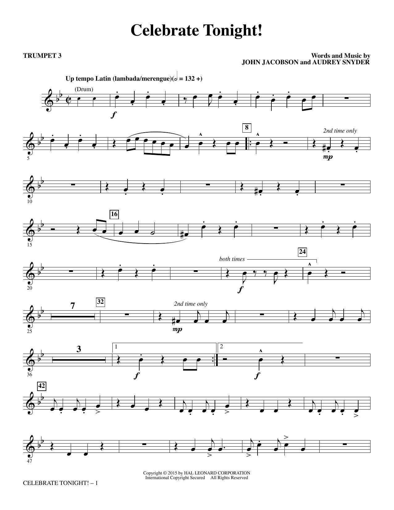 Celebrate Tonight! - Trumpet 3 (Choir Instrumental Pak)