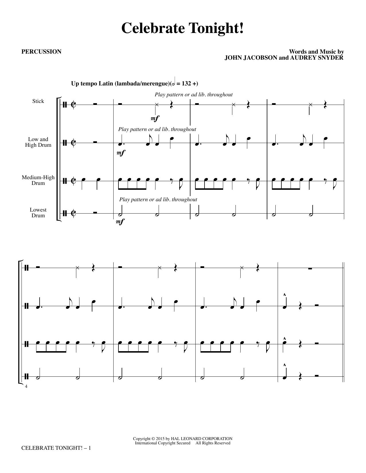 Celebrate Tonight! - Percussion (Choir Instrumental Pak)