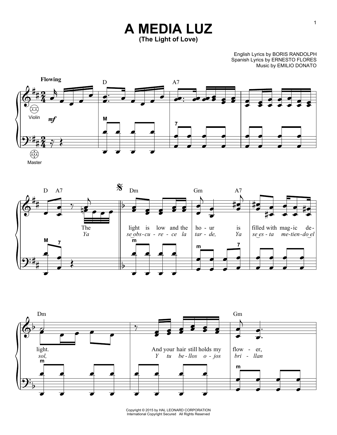 A Media Luz (The Light Of Love) Sheet Music