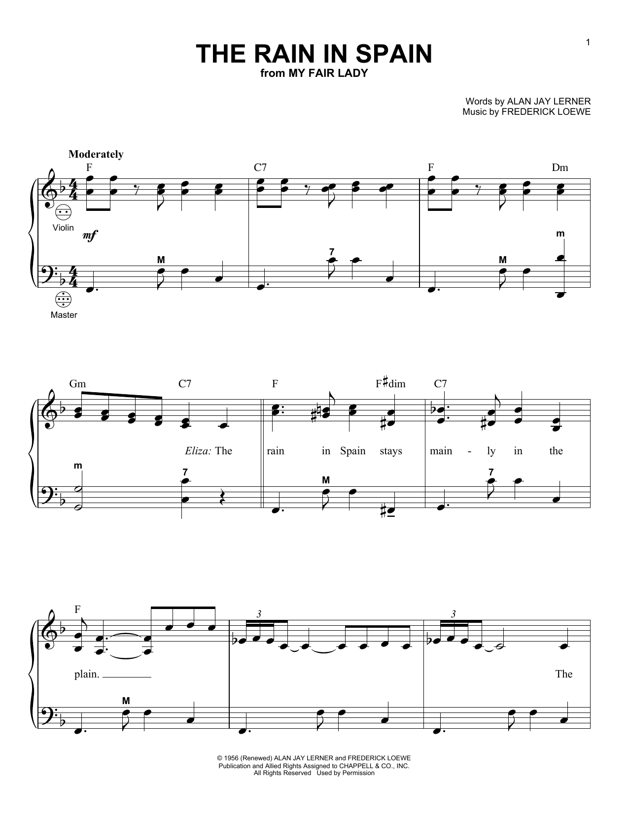 The Rain In Spain Sheet Music