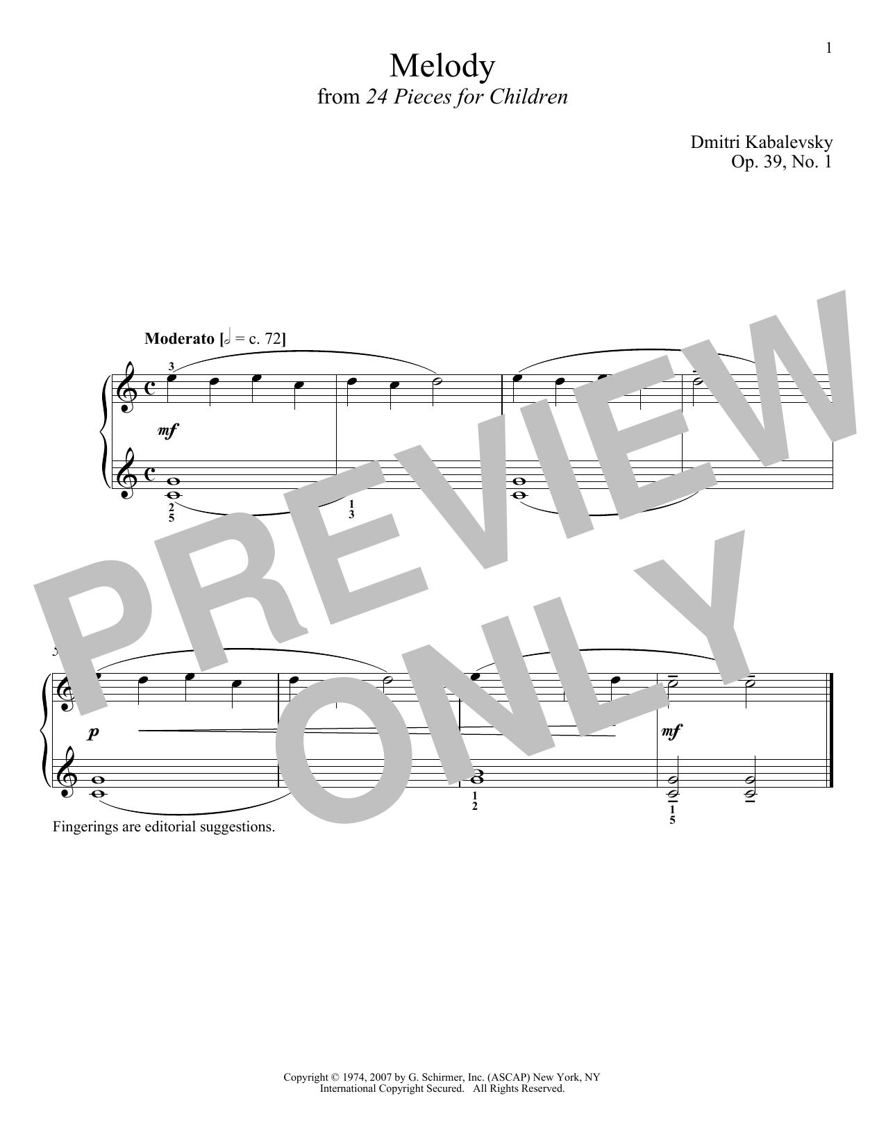 Melody, Op. 39, No. 1 (Piano Solo)