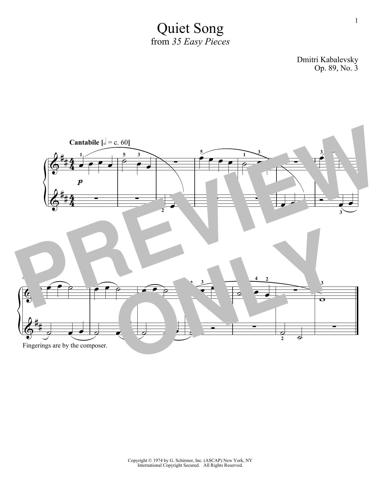 Quiet Song, Op. 89, No. 3 (Piano Solo)
