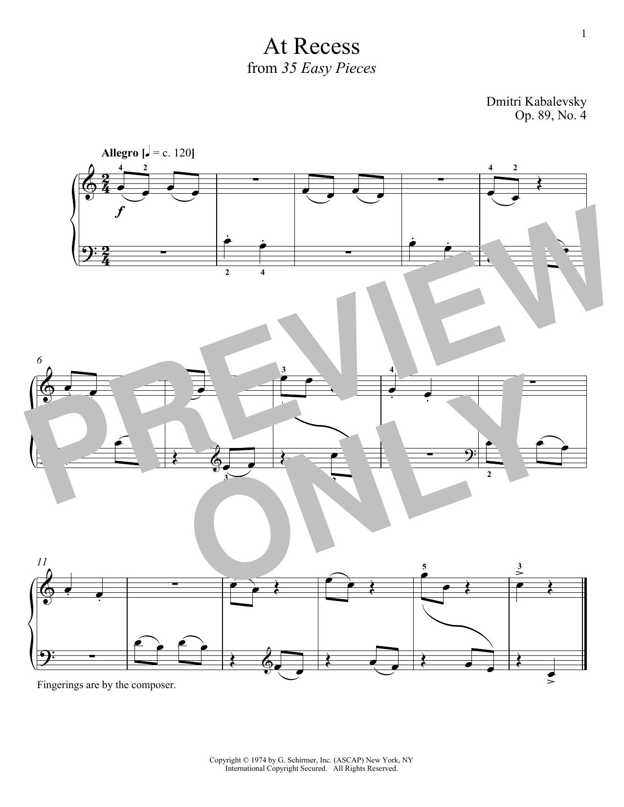 At Recess (Piano Solo)