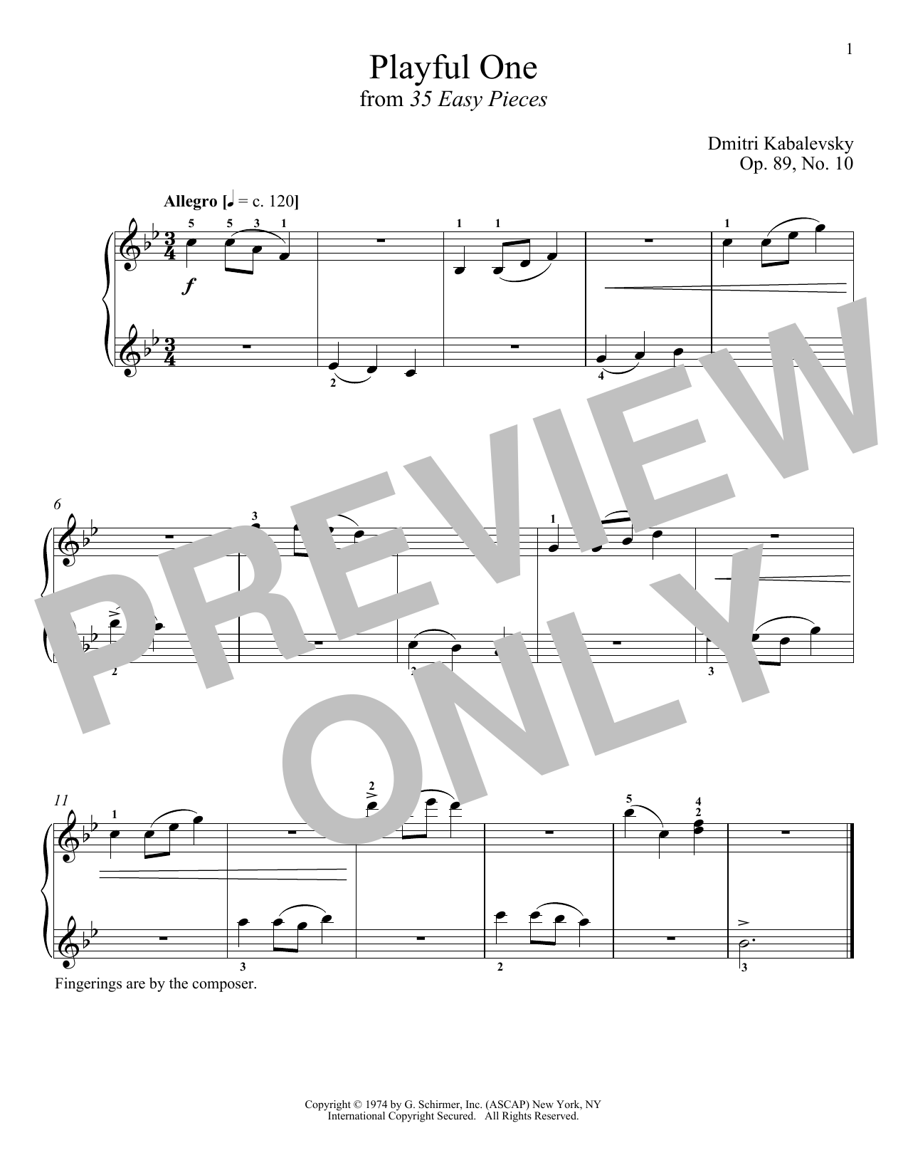 Playful One, Op. 89, No. 10 (Piano Solo)
