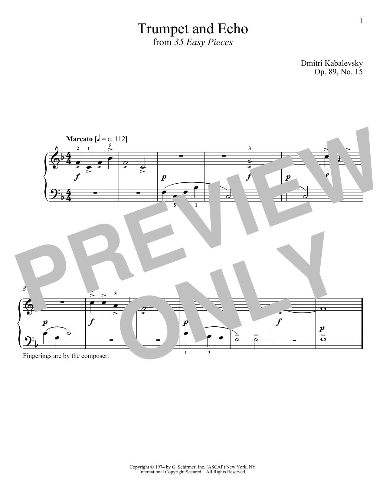 Trumpet And Echo, Op. 89, No. 15 (Piano Solo)