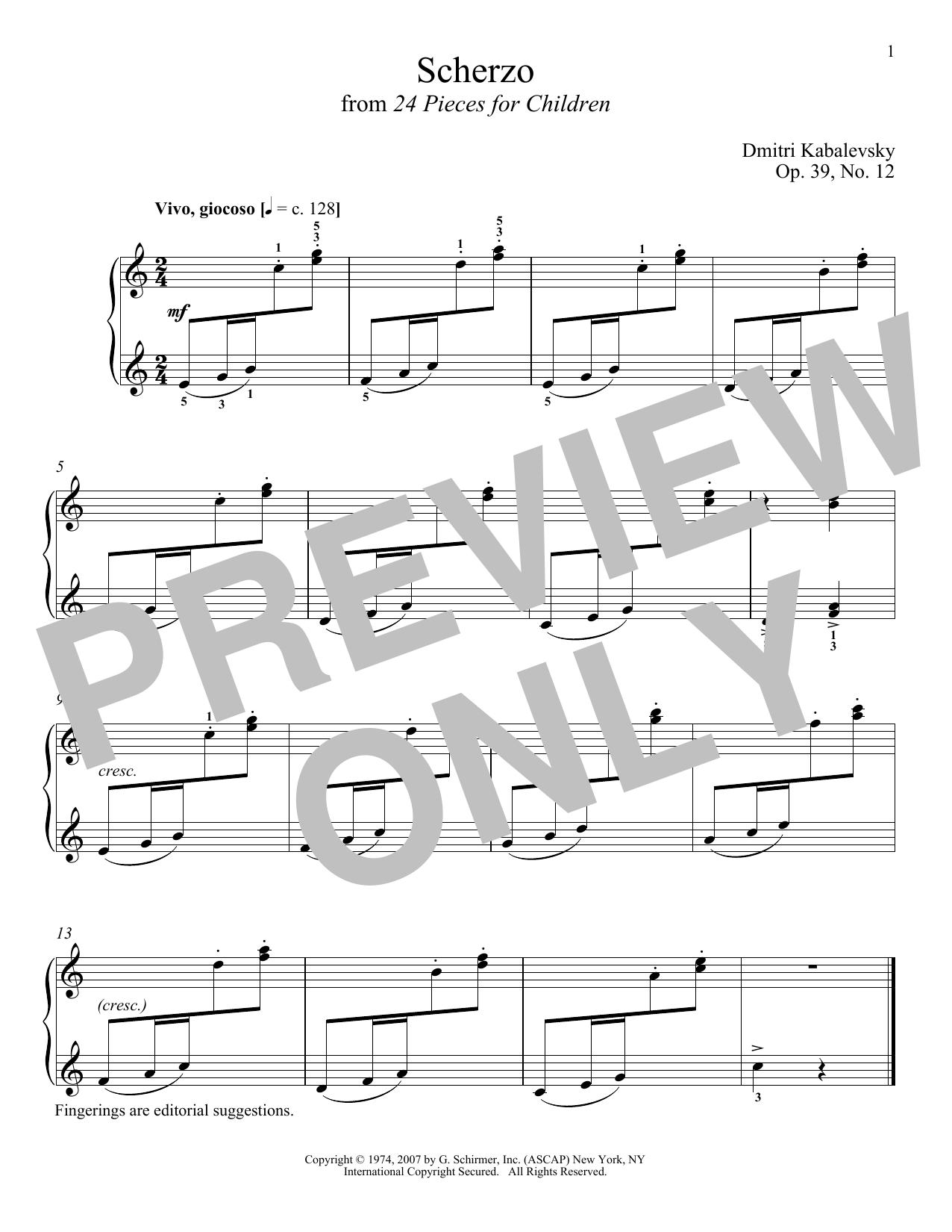 Scherzo, Op. 39, No. 12 (Piano Solo)