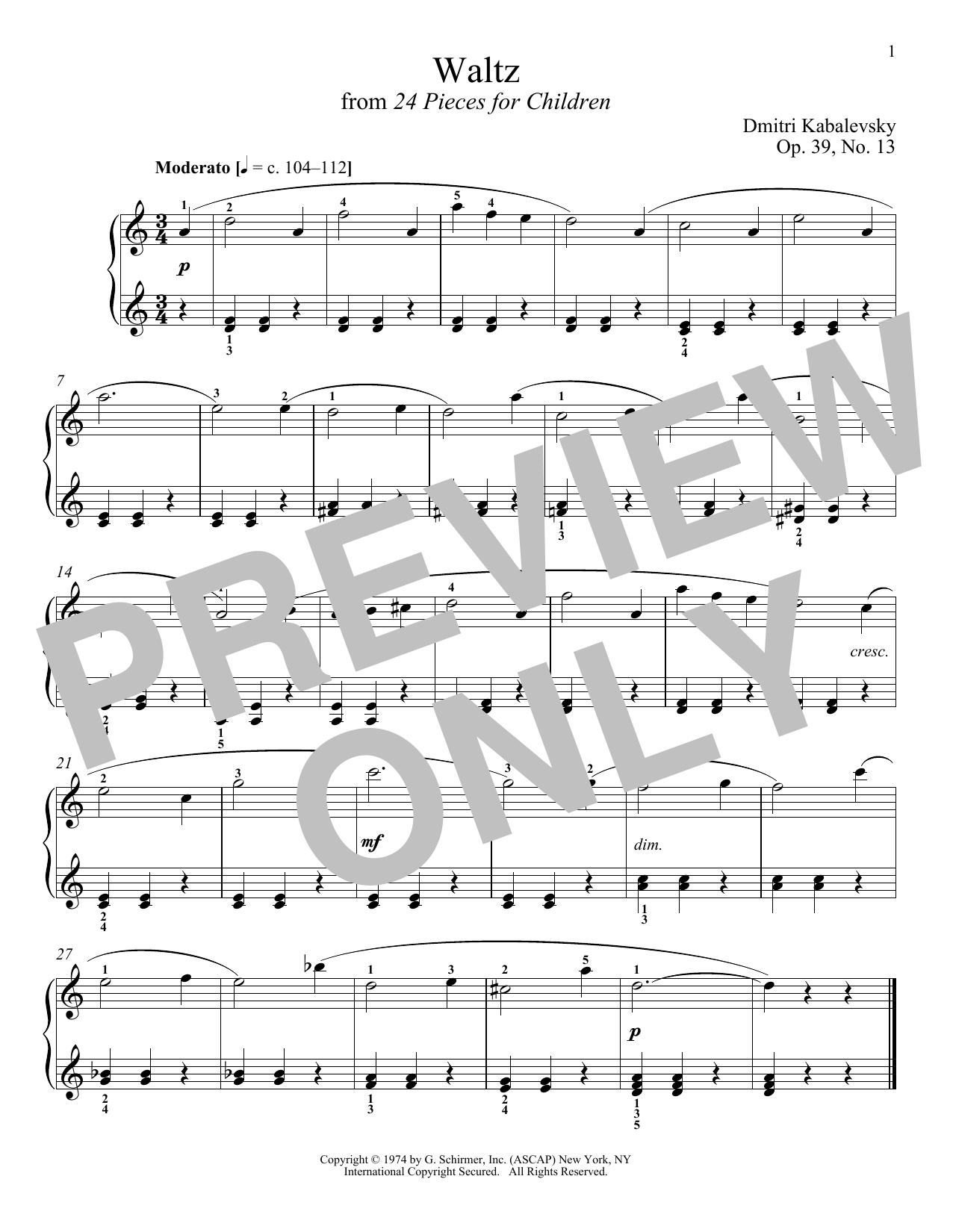 Waltz, Op. 39, No. 13 (Piano Solo)