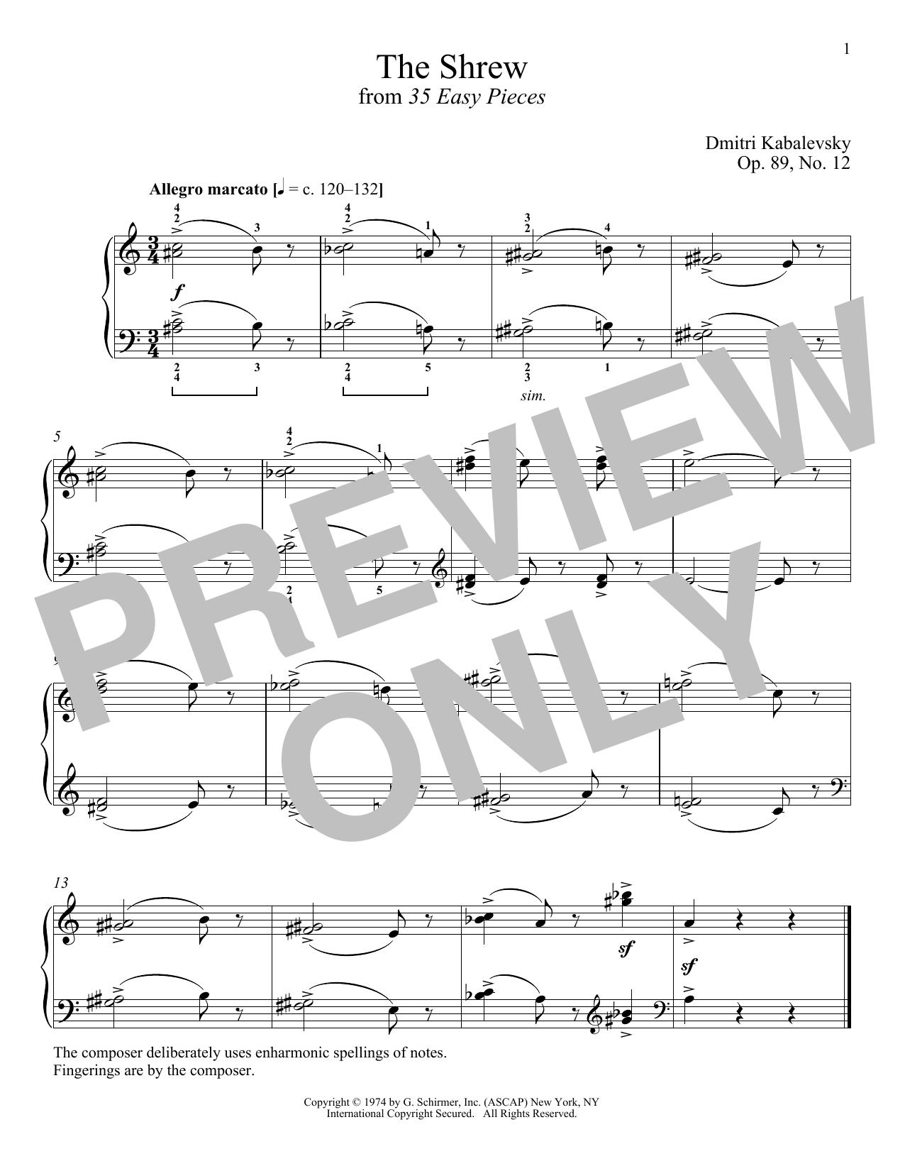 The Shrew, Op. 89, No. 12 (Piano Solo)