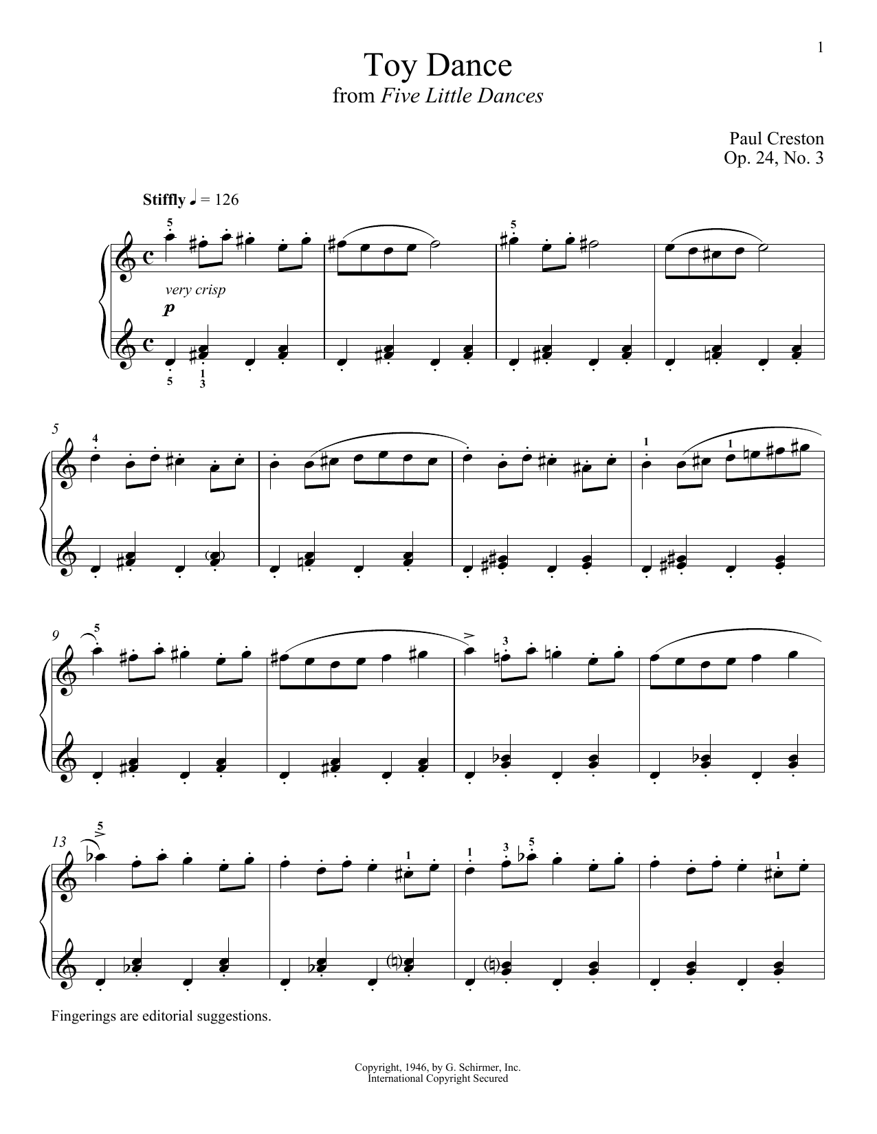 Partition piano Toy Dance de Paul Creston - Piano Solo