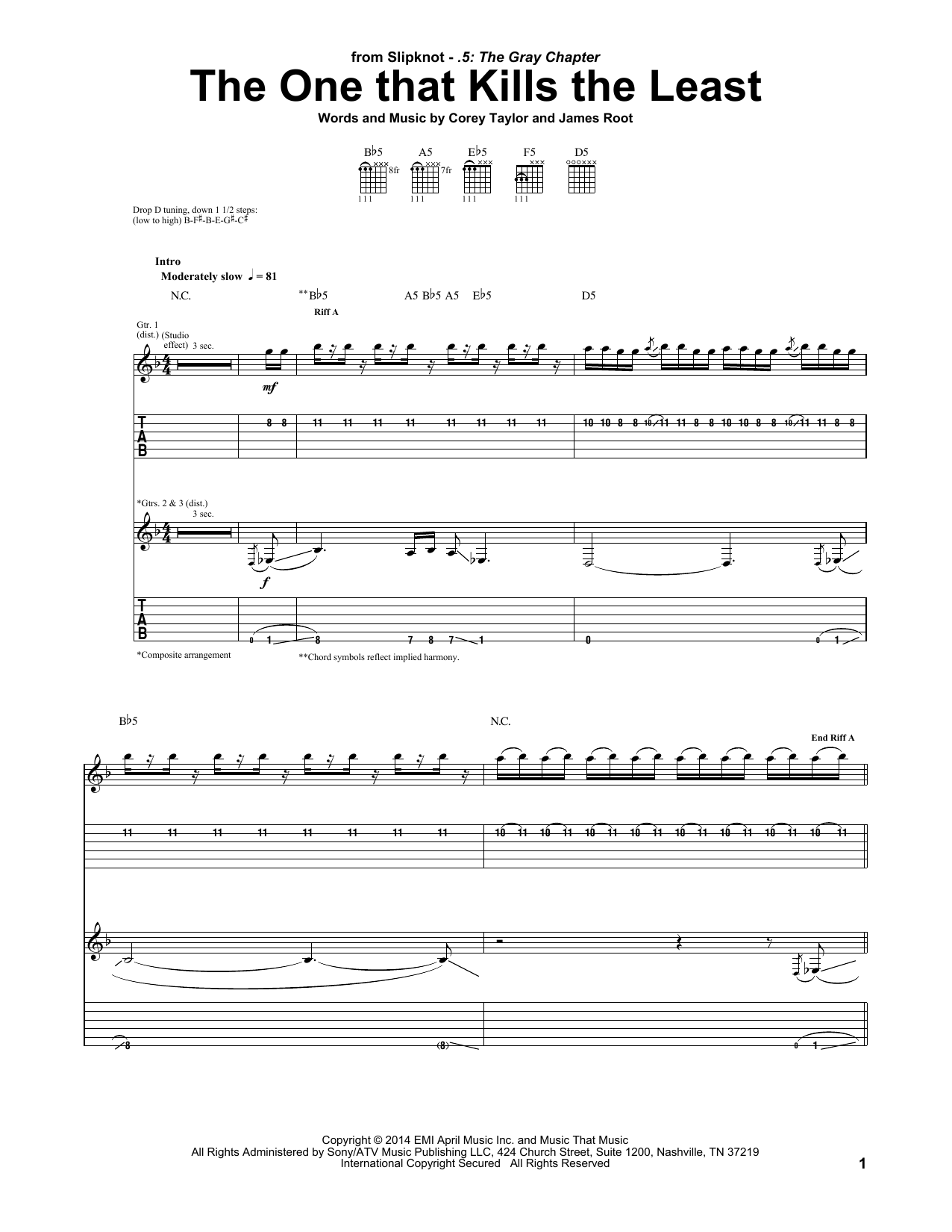 Tablature guitare The One That Kills The Least de Slipknot - Tablature Guitare