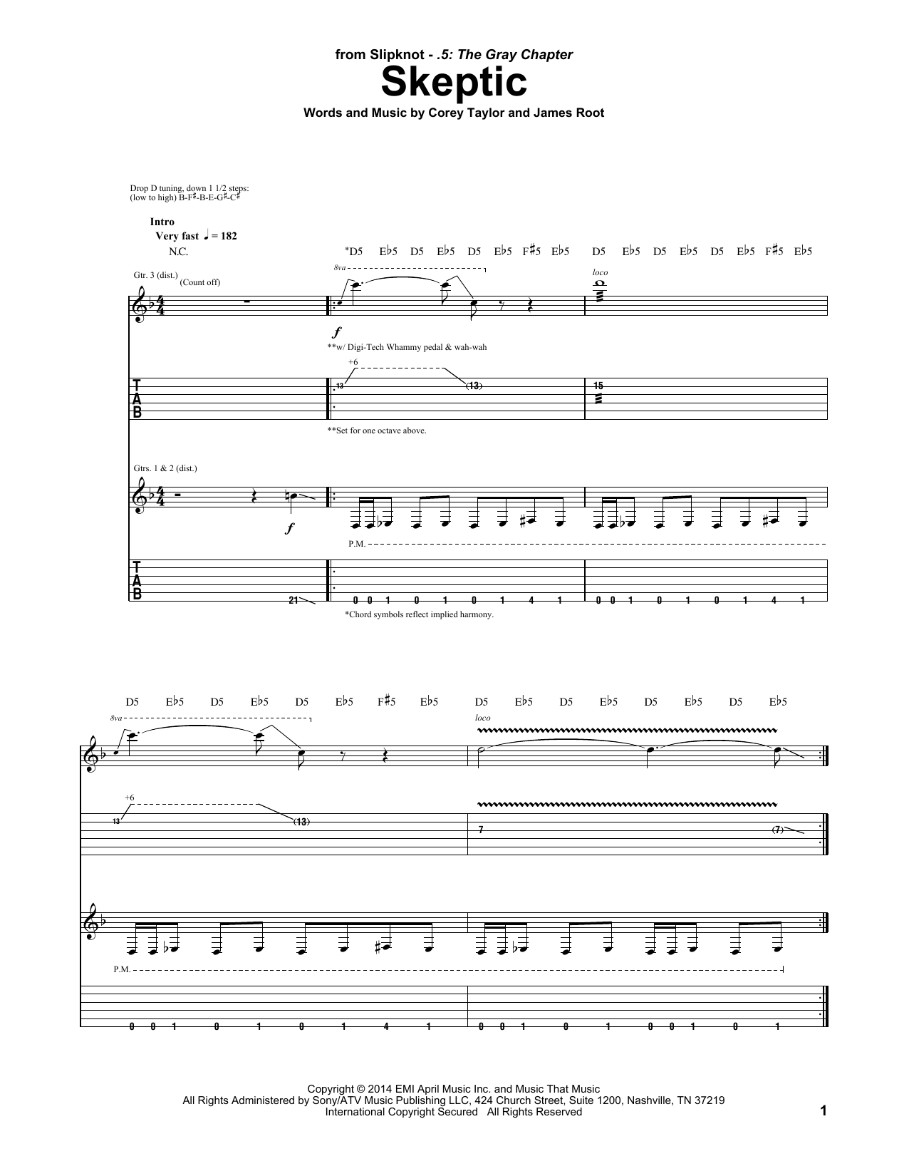 Tablature guitare Skeptic de Slipknot - Tablature Guitare