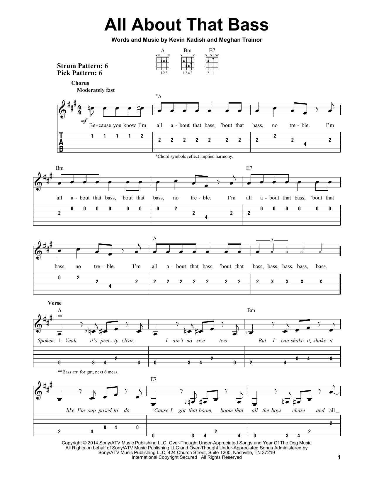 Tablature guitare All About That Bass de Meghan Trainor - Tablature guitare facile