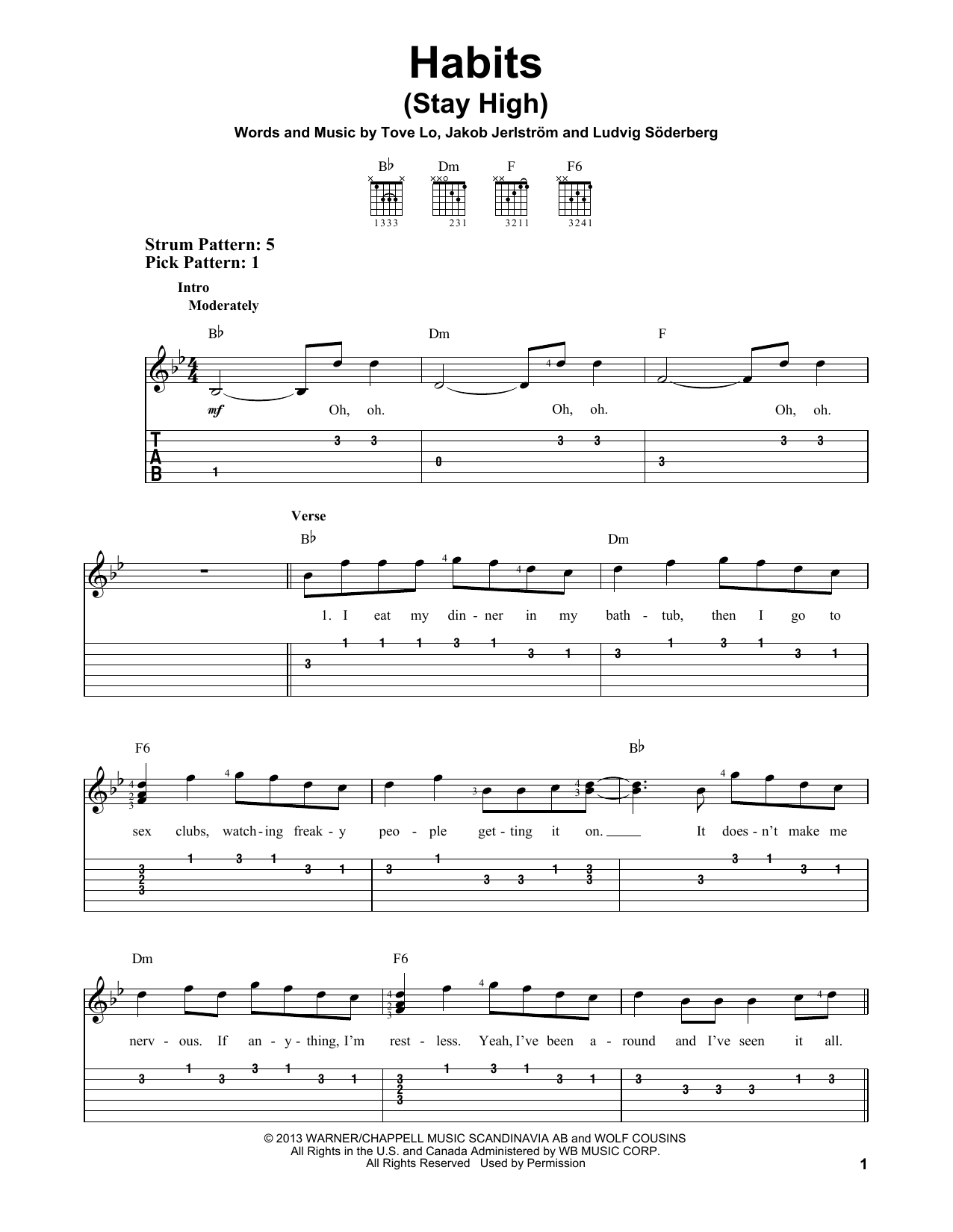 Habits Stay High By Tove Lo Easy Guitar Tab Guitar Instructor