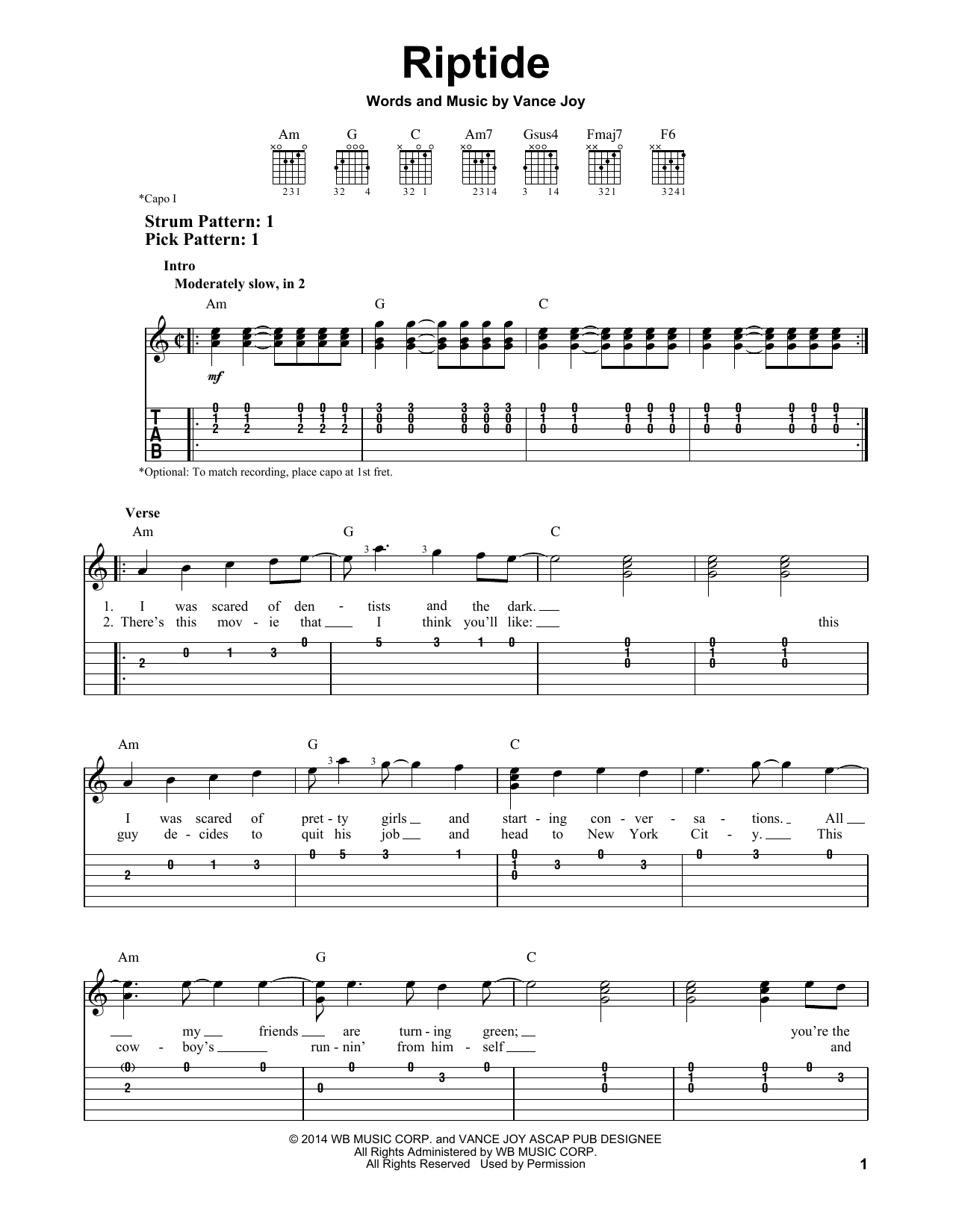 Tablature guitare Riptide de Vance Joy - Tablature guitare facile