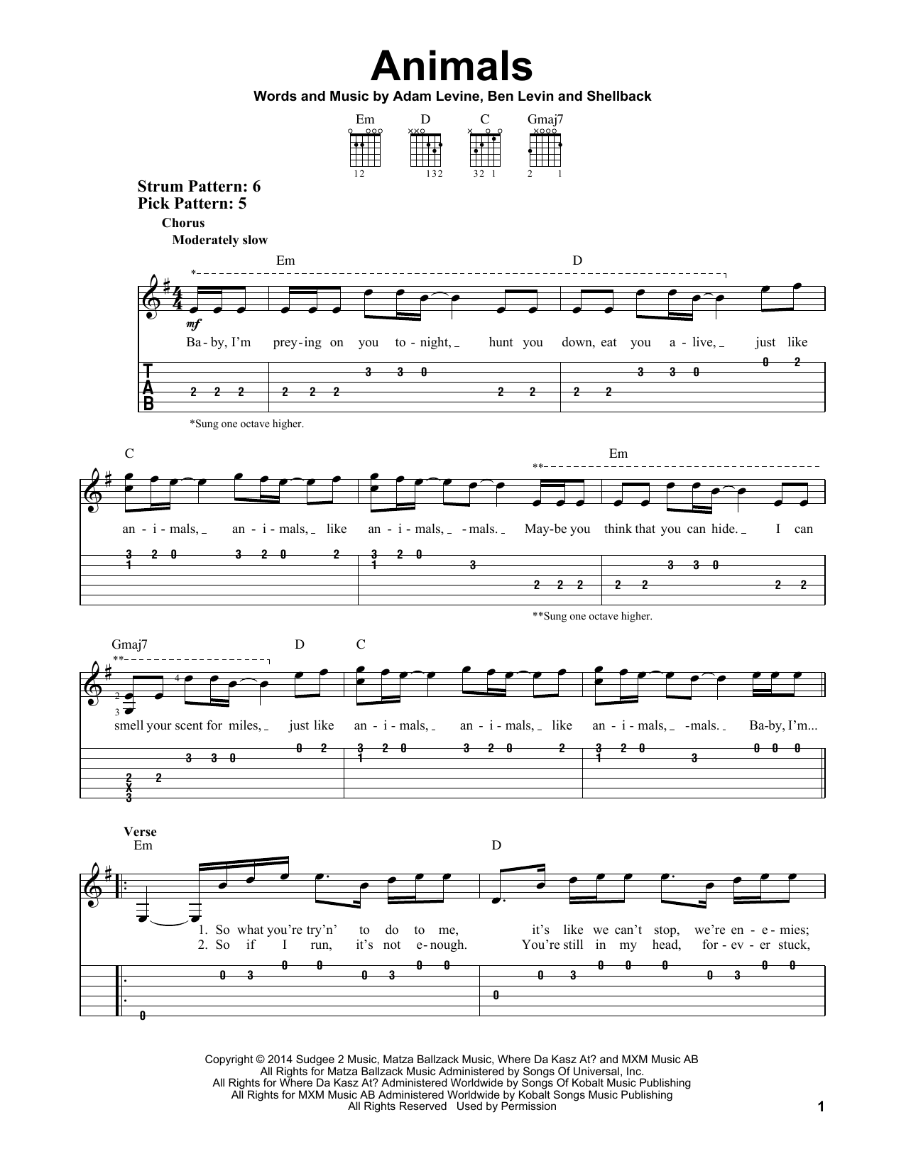 Animals By Maroon 5 Easy Guitar Tab Guitar Instructor