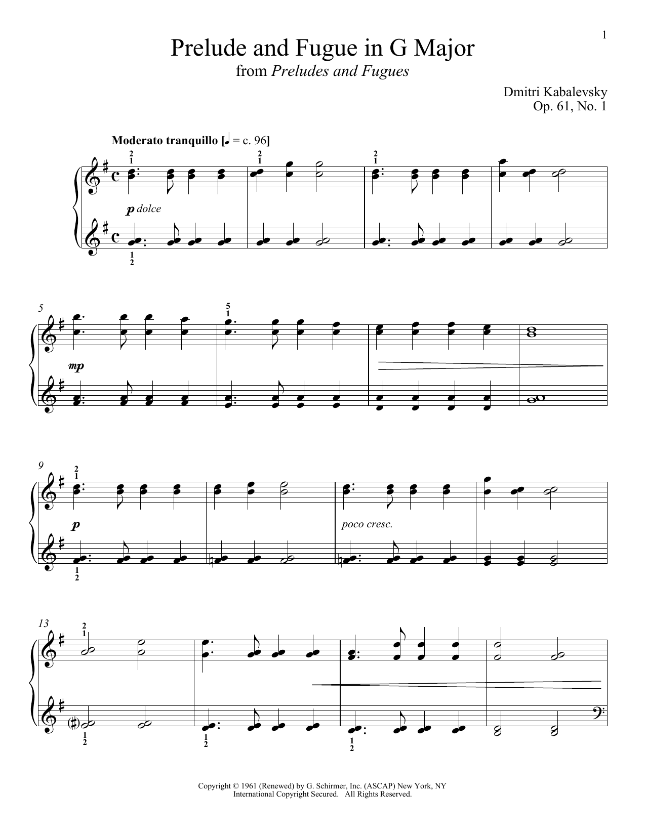 Prelude And Fugue In G Major Sheet Music