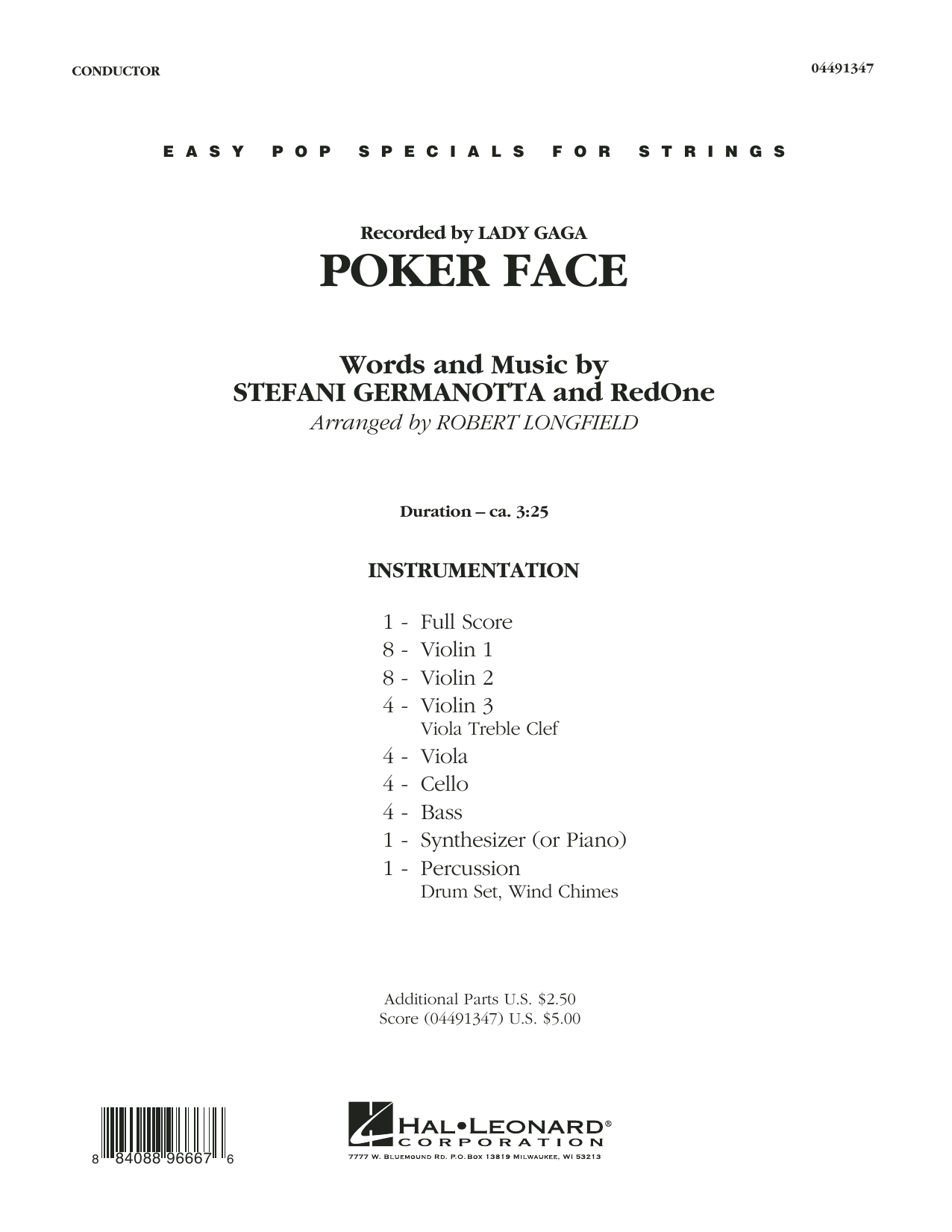 Poker Face (COMPLETE) sheet music for orchestra by Robert Longfield, Glee Cast, Lady Gaga and RedOne. Score Image Preview.