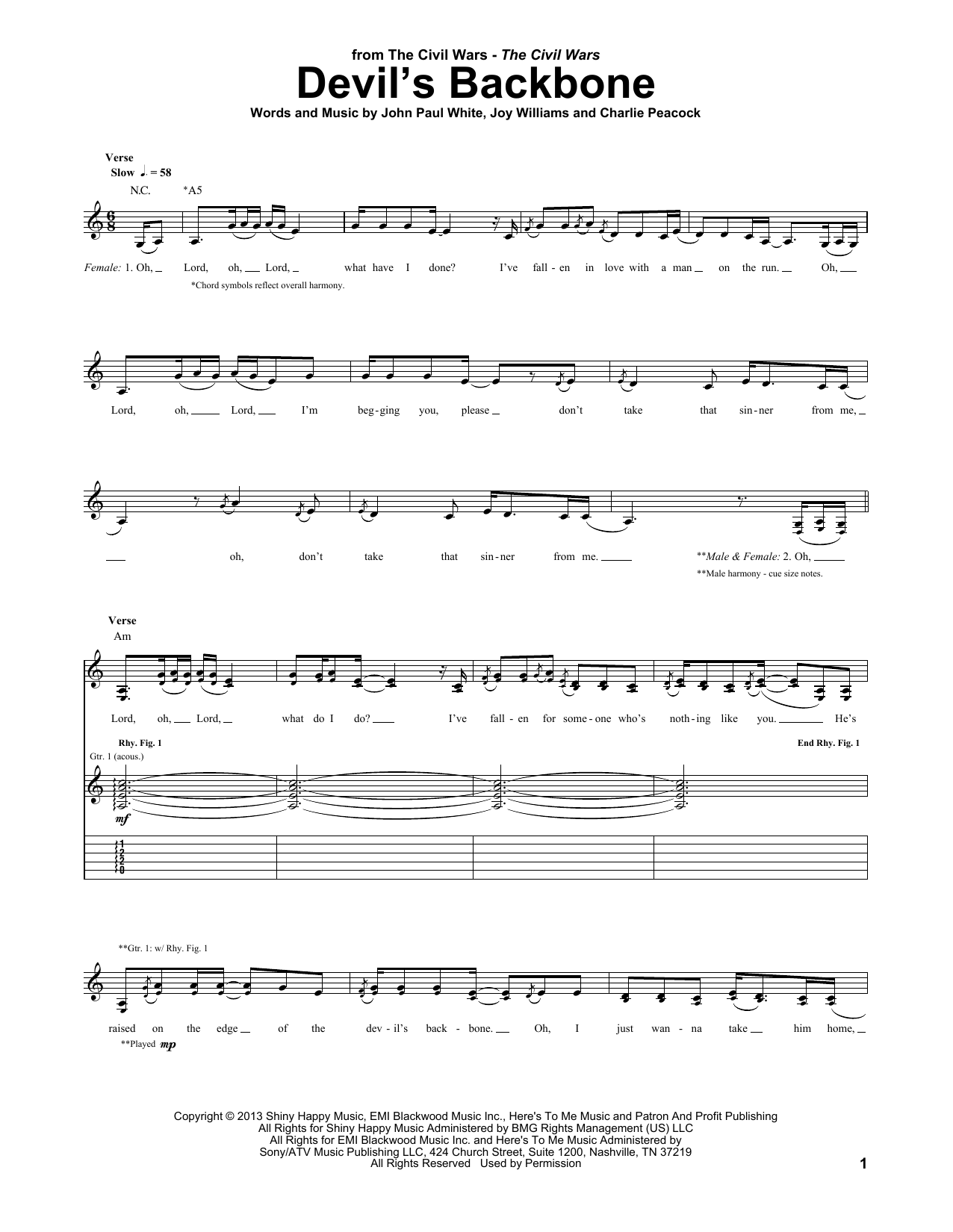 Tablature guitare Devil's Backbone de The Civil Wars - Tablature Guitare