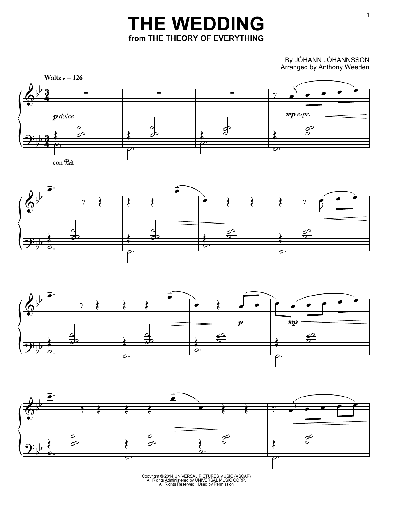 The Wedding (from 'The Theory of Everything') Sheet Music