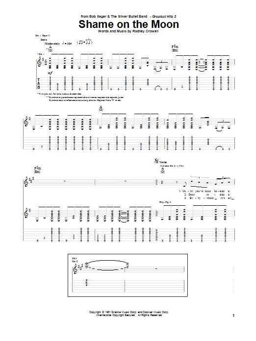 Shame On The Moon (Guitar Tab)