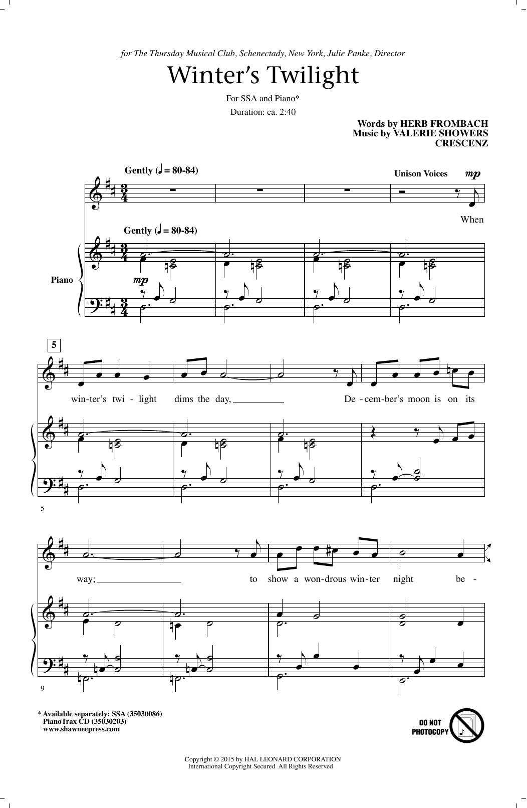Winter's Twilight Sheet Music