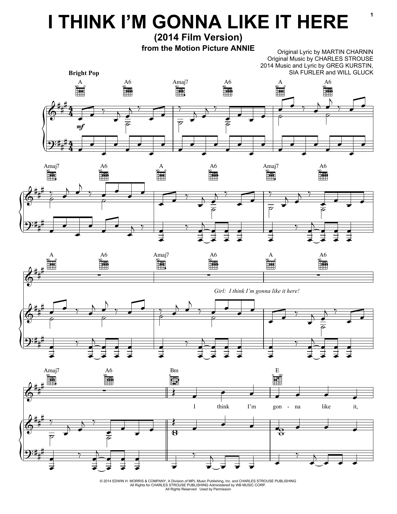 I Think I'm Gonna Like It Here (from 'Annie' 2014 Film Version) Sheet Music
