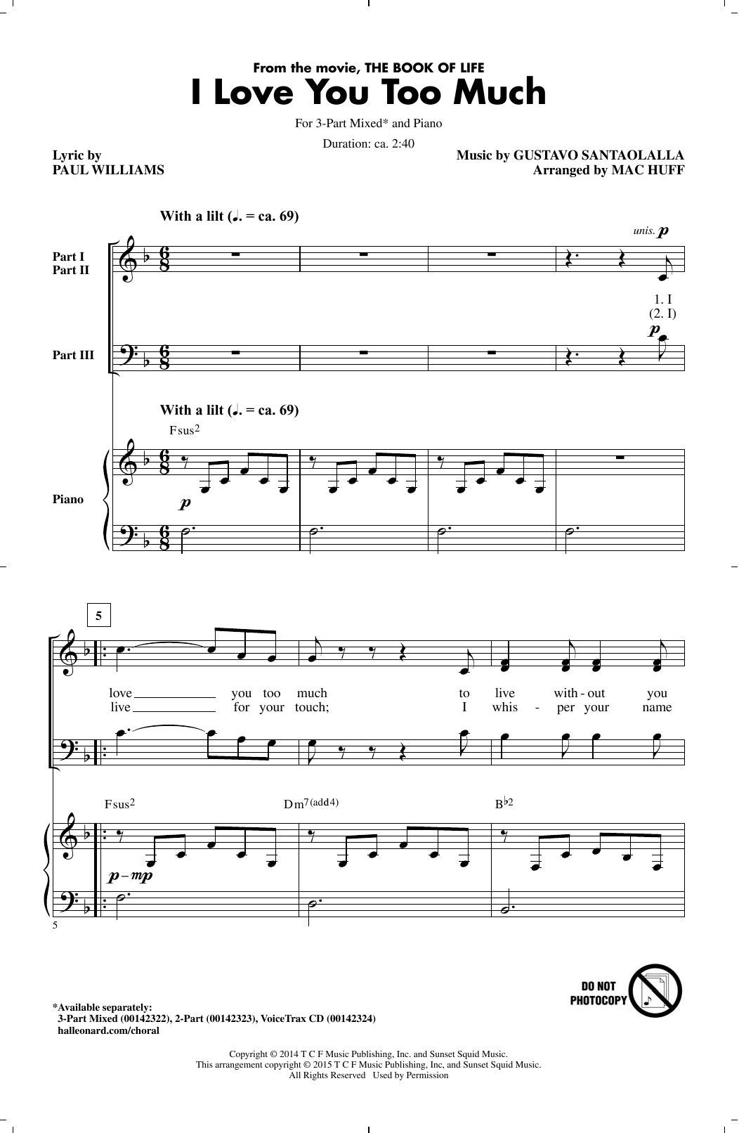 I Love You Too Much (arr. Mac Huff) Sheet Music