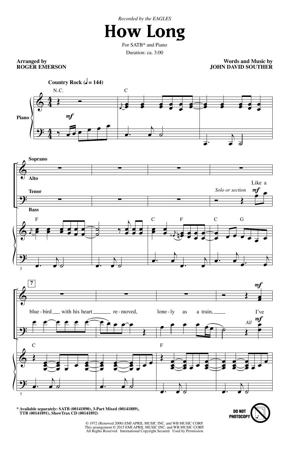 How Long (arr. Roger Emerson) Sheet Music