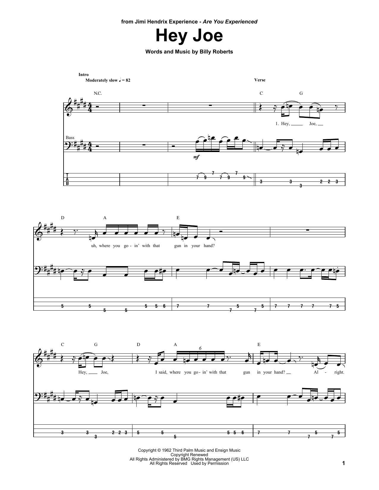 Hey Joe Sheet Music Jimi Hendrix Bass Guitar Tab
