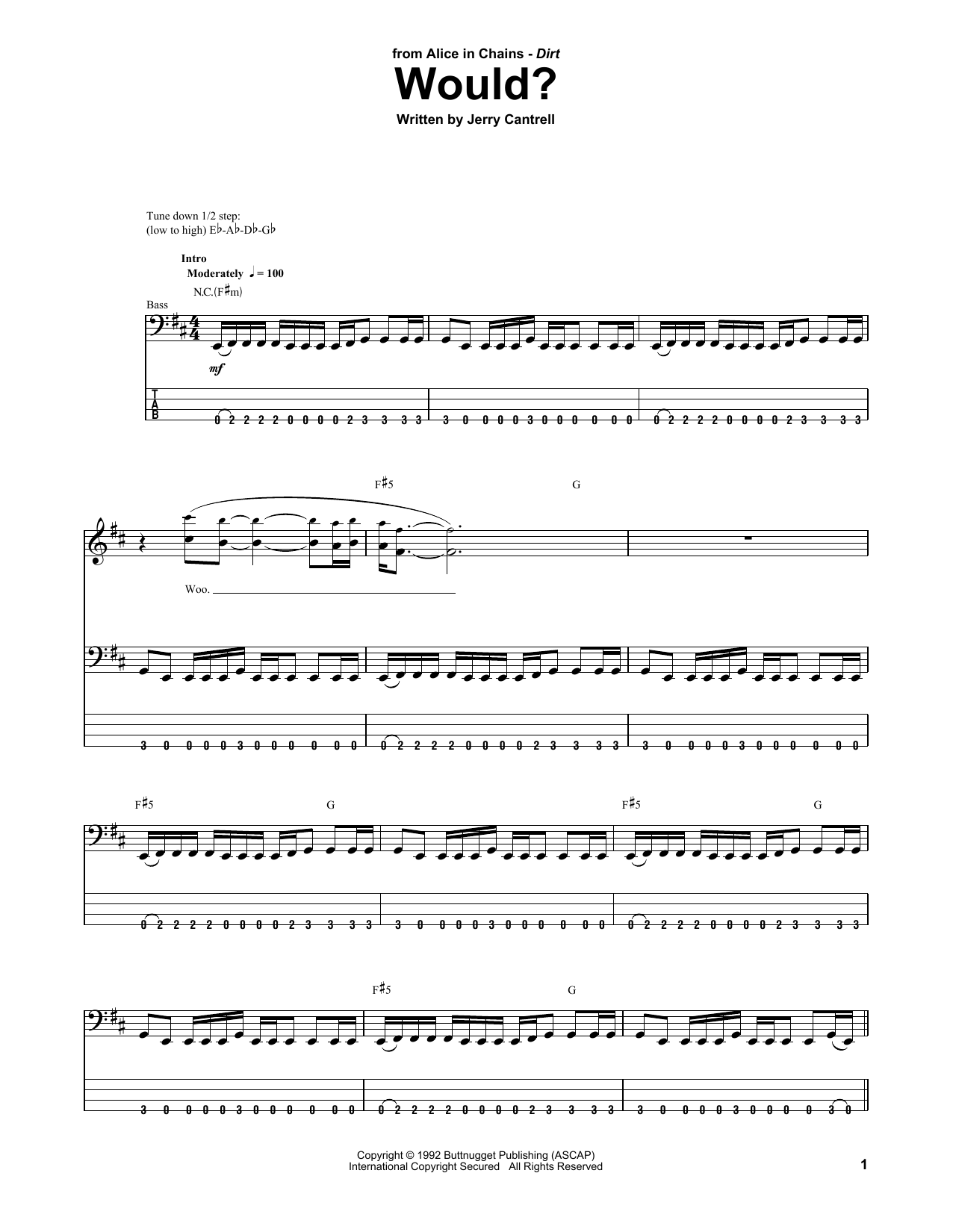 Tablature guitare Would? de Alice In Chains - Tablature Basse