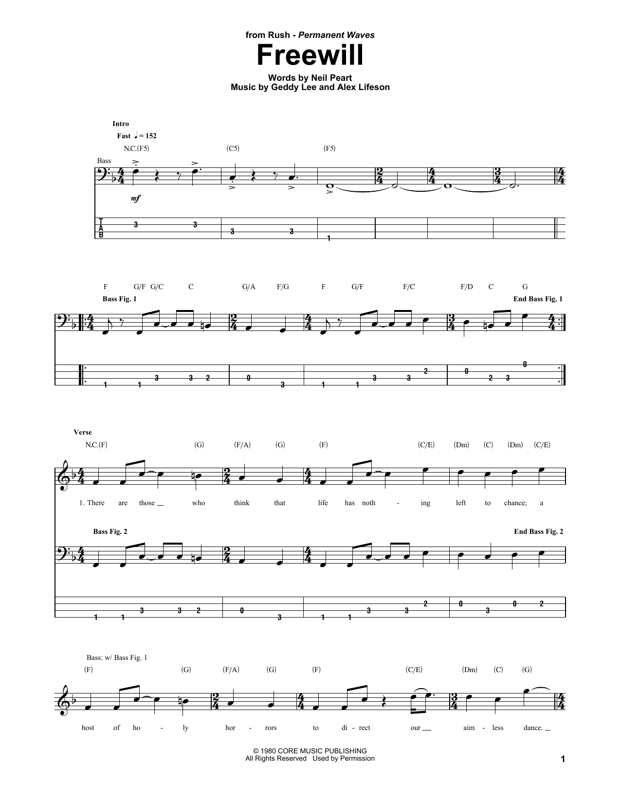 Freewill Sheet Music