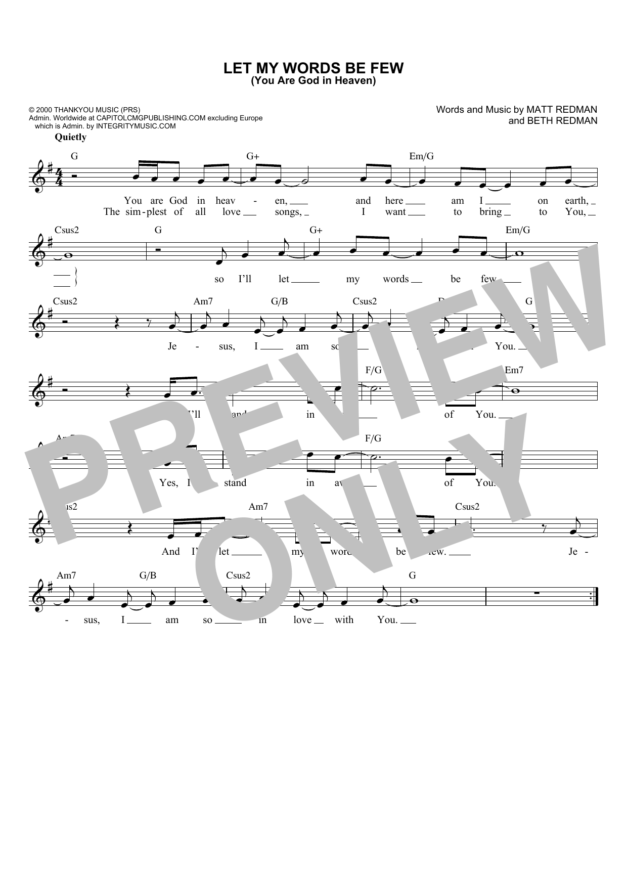 Let My Words Be Few (You Are God In Heaven) (Lead Sheet / Fake Book)