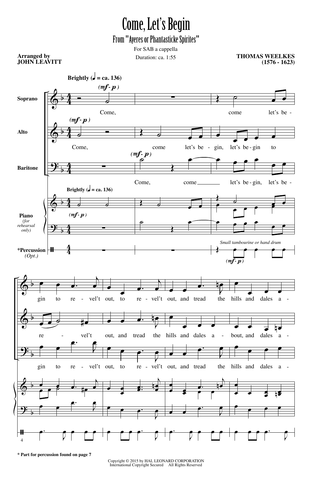 Come, Let's Begin (arr. John Leavitt) Sheet Music