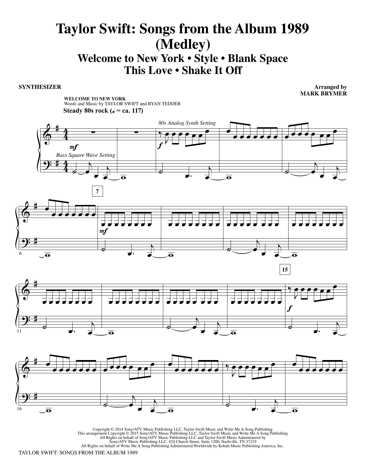 Taylor Swift: Songs from the Album 1989 (complete set of parts) sheet music for orchestra/band by Mark Brymer, Johan Schuster, Max Martin, Shellback and Taylor Swift. Score Image Preview.