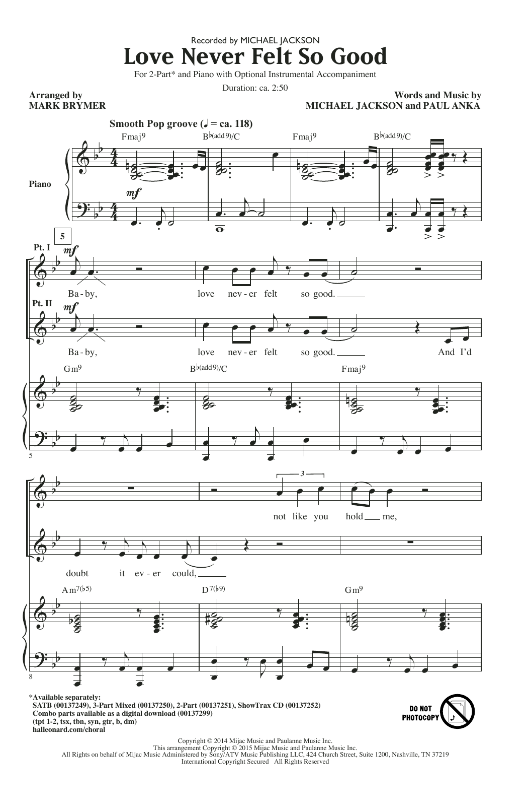 Love Never Felt So Good (arr. Mark Brymer) Sheet Music