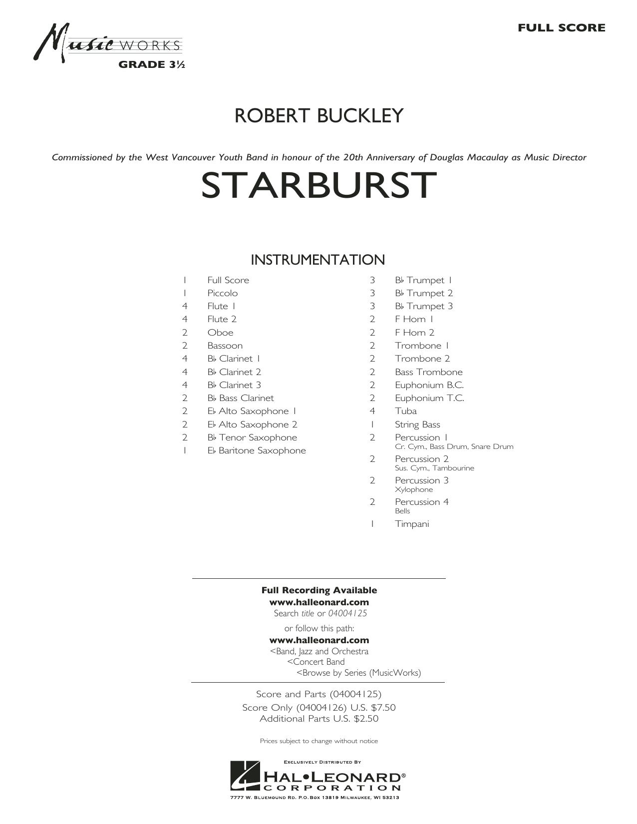 Starburst (COMPLETE) sheet music for concert band by Robert Buckley. Score Image Preview.