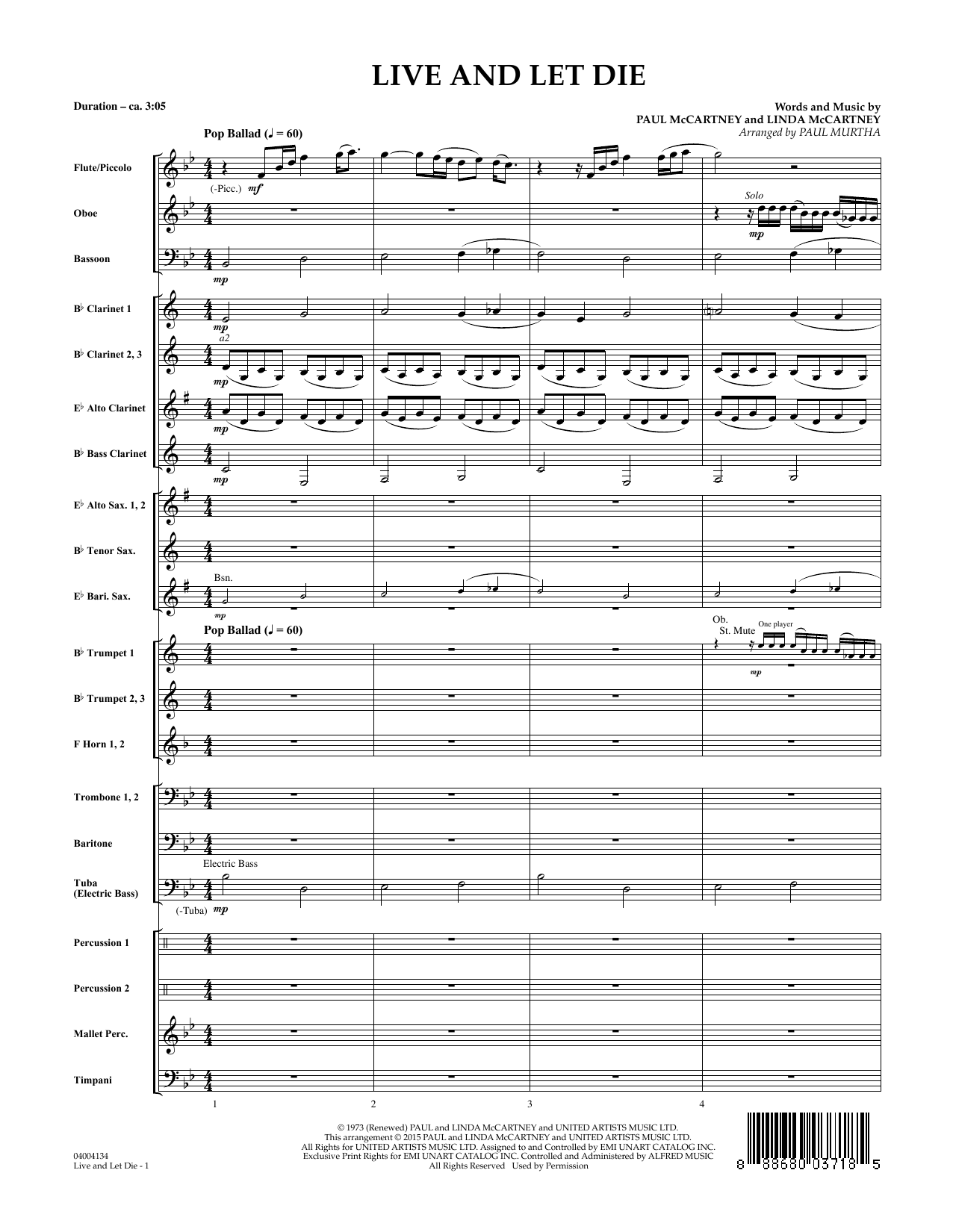 Live and Let Die - Conductor Score (Full Score) (Concert Band)