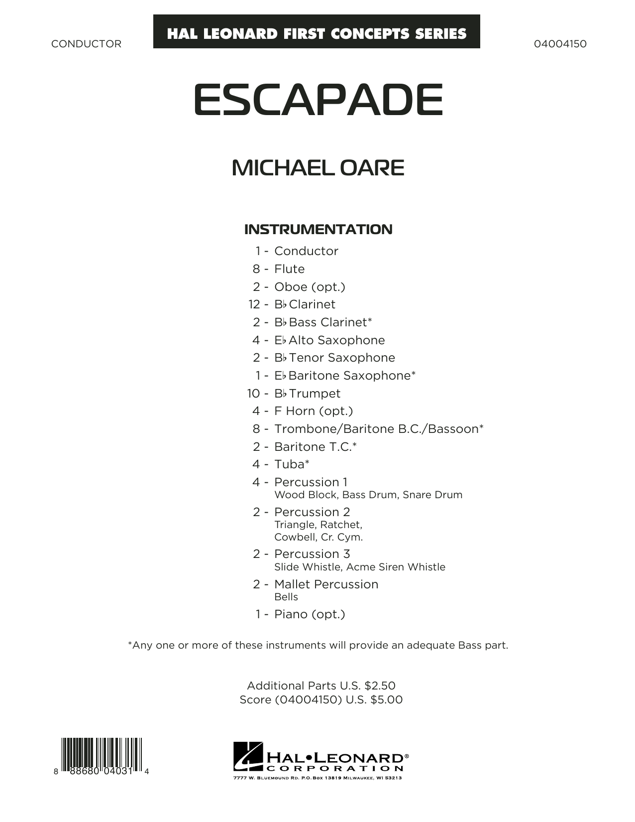Escapade (COMPLETE) sheet music for concert band by Michael Oare. Score Image Preview.