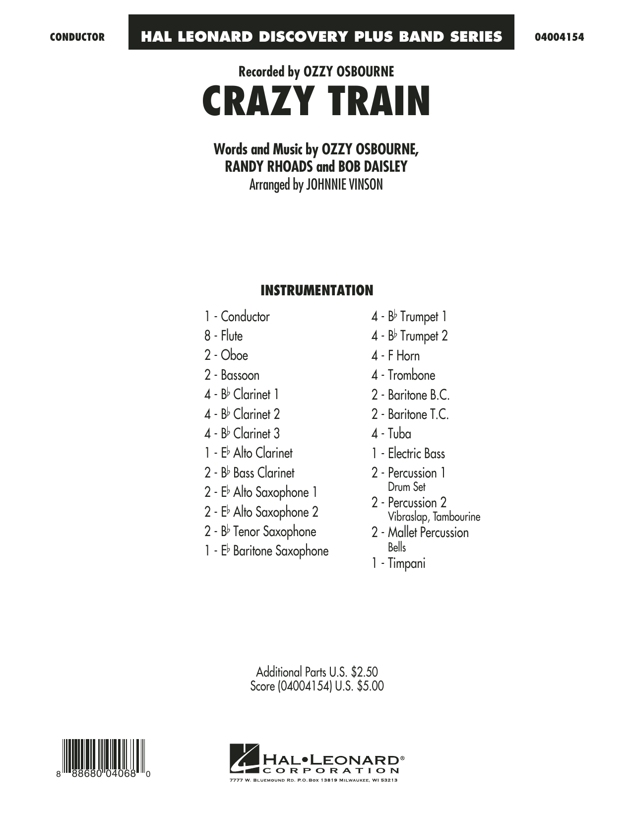 Crazy Train (COMPLETE) sheet music for concert band by Ozzy Osbourne, Johnnie Vinson and Randy Rhoads. Score Image Preview.